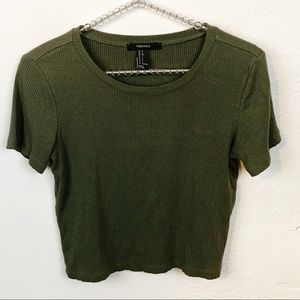 Forever 21 l Green Ribbed Cropped Short Sleeve
